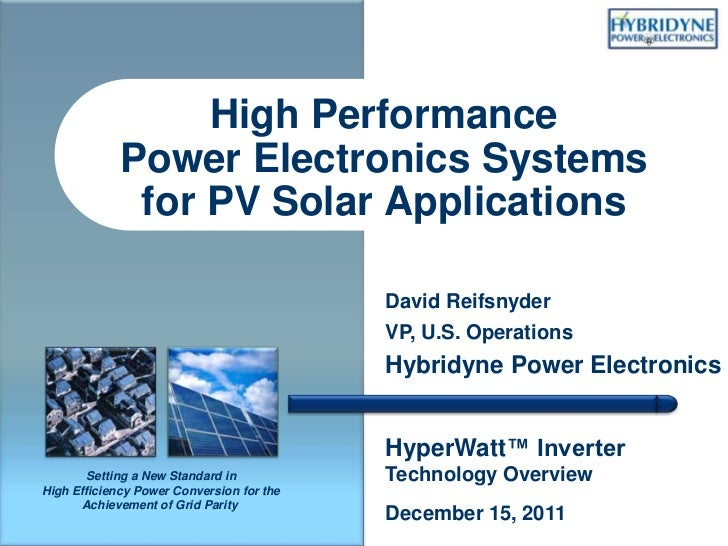High Performance             Power Electronics Systems              for PV Solar Applications                             ...