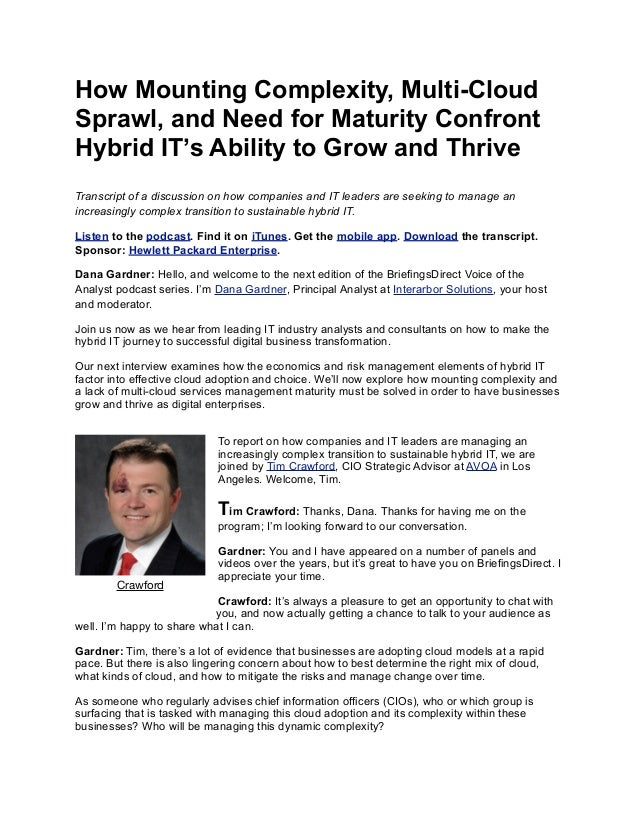 How Mounting Complexity, Multi-Cloud Sprawl, and Need for Maturity Confront Hybrid IT's Ability to Grow and Thrive Transcr...