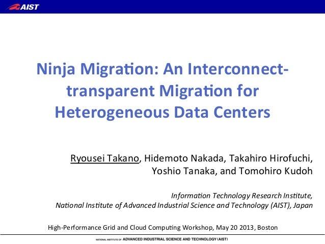 High%Performance/Grid/and/Cloud/Compu6ng/Workshop,/May/20/2013,/BostonRyousei/Takano,/Hidemoto/Nakada,/Takahiro/Hirofuchi,...