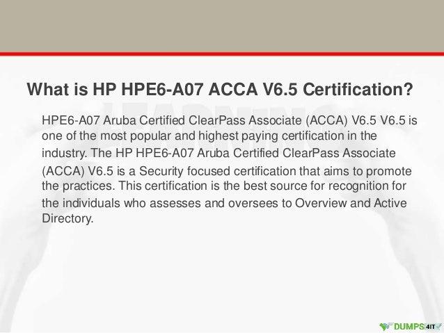 Hp hpe6 a07 aruba certified clear pass associate (acca) v6.5 hp arub…