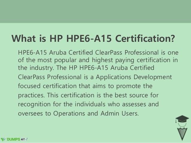 Hp hpe6 a15 aruba certified clear pass professional (accp) v6.5 exam …