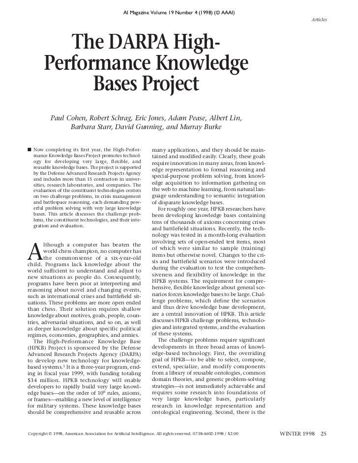 AI Magazine Volume 19 Number 4 (1998) (© AAAI)                                                                            ...