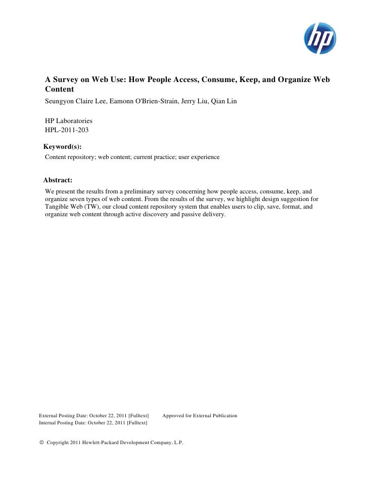 A Survey on Web Use: How People Access, Consume, Keep, and Organize Web  Content  Seungyon Claire Lee, Eamonn OBrien-Strai...