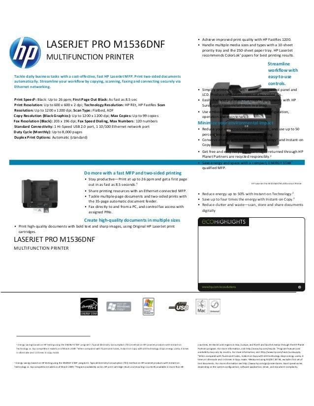 DRIVER: HP LASERJET M1536DNF MFP SCANNER