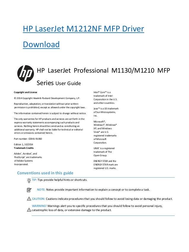 laserjet m1212nf mfp driver xp