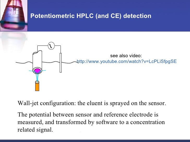 Potentiometric HPLC (and CE) detection Wall-jet configuration: the eluent is sprayed on the sensor. The potential between ...