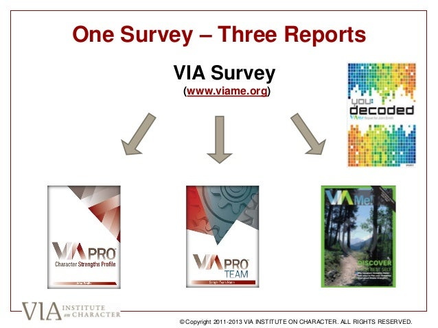 One Survey – Three Reports VIA Survey (www.viame.org) © Copyright 2011-2013 VIA INSTITUTE ON CHARACTER. ALL RIGHTS RESERVE...