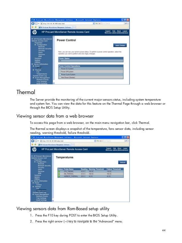 HP Micro Server remote access card user manual
