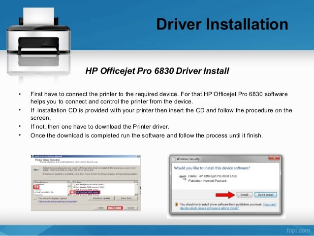 Hp officeject pro 6830 Installation and setup