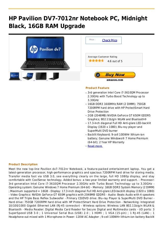 HP Pavilion DV7-7012nr Notebook PC, MidnightBlack, 16GB RAM Upgrade                                                       ...