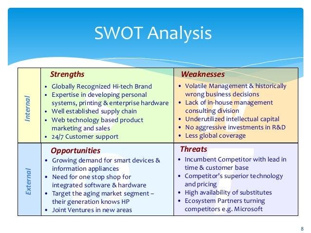 swot analysis hp Swot analysis of microsoft corporation let's do a basic swot analysis of microsoft leo sun jun 28, 2015 at 8:52am.