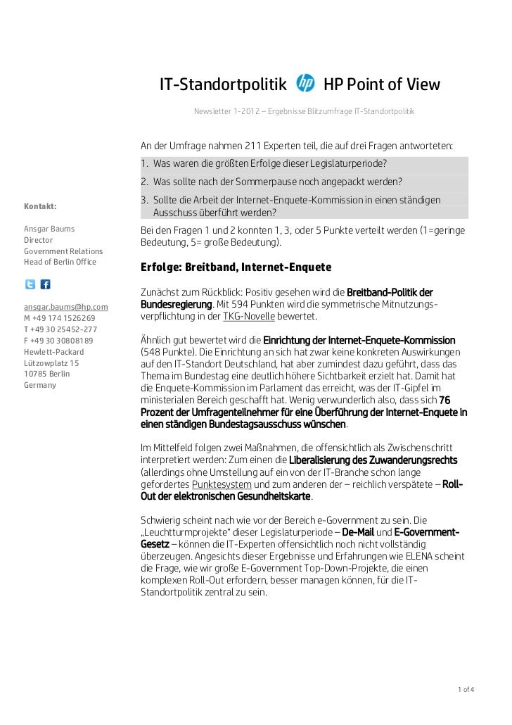 IT-Standortpolitik                          HP Point of View                                    Newsletter 1-2012 – Ergebn...
