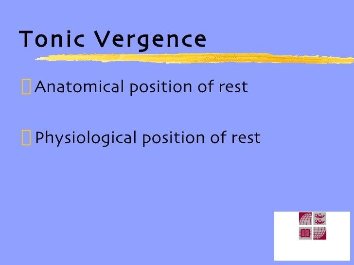 Tonic Vergence <ul><li>Anatomical position of rest </li></ul><ul><li>Physiological position of rest </li></ul>