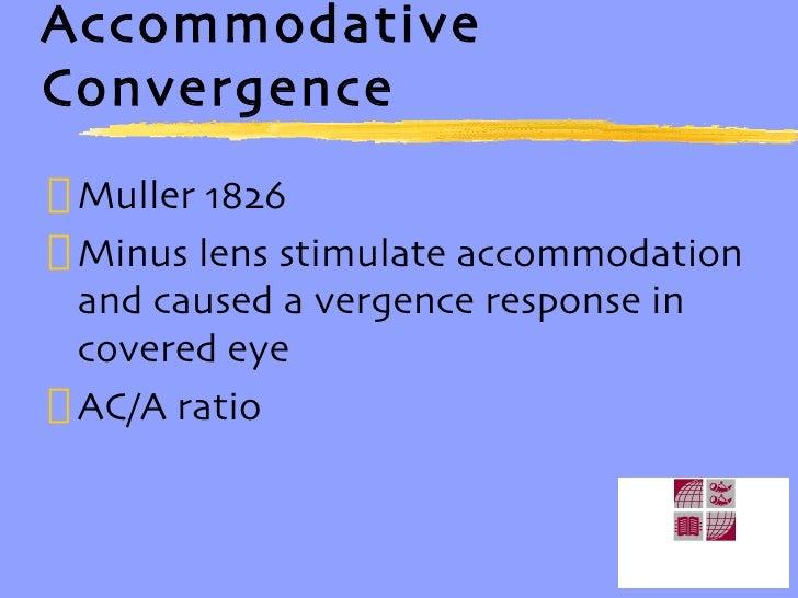 Accommodative Convergence <ul><li>Muller 1826 </li></ul><ul><li>Minus lens stimulate accommodation and caused a vergence r...