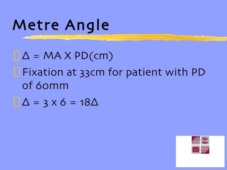 Metre Angle <ul><li>∆  = MA X PD(cm) </li></ul><ul><li>Fixation at 33cm for patient with PD of 60mm </li></ul><ul><li>∆  =...