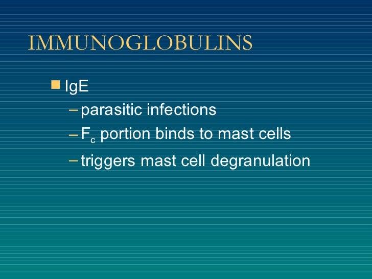 IMMUNOGLOBULINS <ul><li>IgE </li></ul><ul><ul><li>parasitic infections </li></ul></ul><ul><ul><li>F c  portion binds to ma...