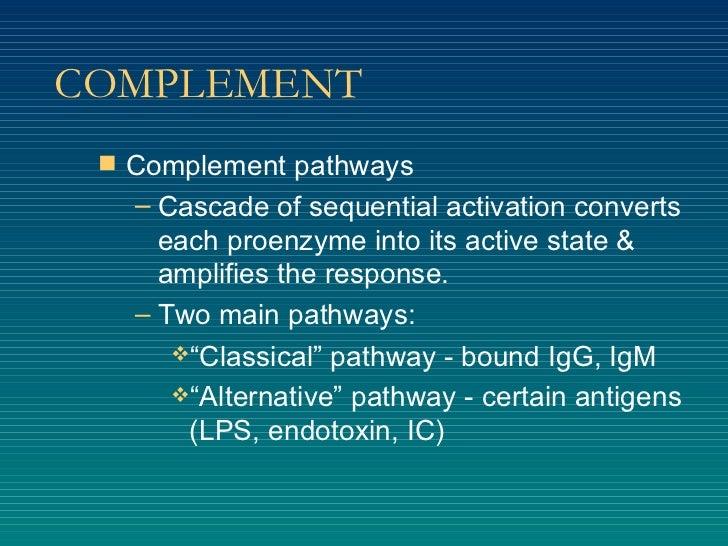 COMPLEMENT <ul><li>Complement pathways </li></ul><ul><ul><li>Cascade of sequential activation converts each proenzyme into...