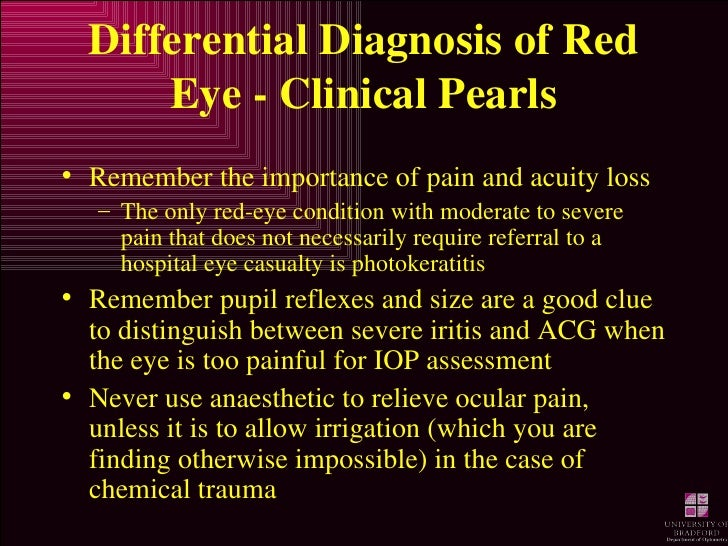 Differential Diagnosis of Red Eye