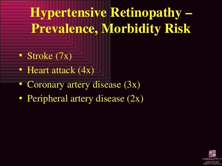 Hypertensive Retinopathy – Prevalence, Morbidity Risk <ul><li>Stroke (7x) </li></ul><ul><li>Heart attack (4x) </li></ul><u...