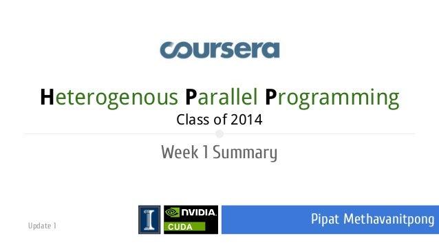 Heterogenous Parallel Programming Class of 2014  Week 1 Summary  Update 1  CUDA  Pipat Methavanitpong