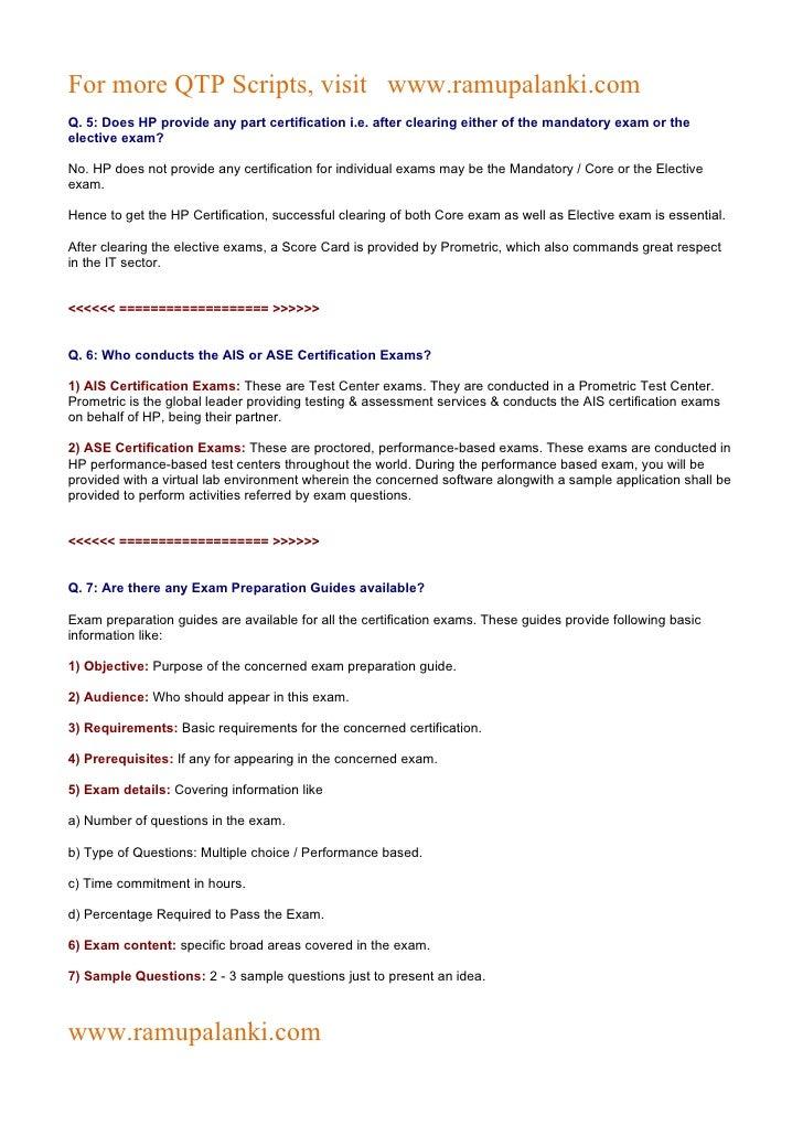 Hp Qtp Certification Questions