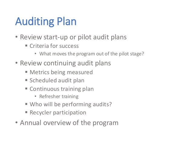 Auditing Plan • Review start-up or pilot audit plans  Criteria for success • What moves the program out of the pilot stag...
