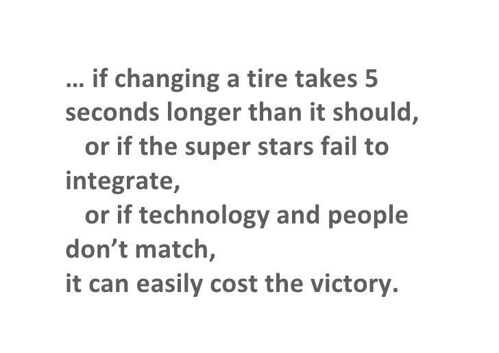 … if changing a tire takes 5            seconds longer than it should,              or if the super stars fail to         ...