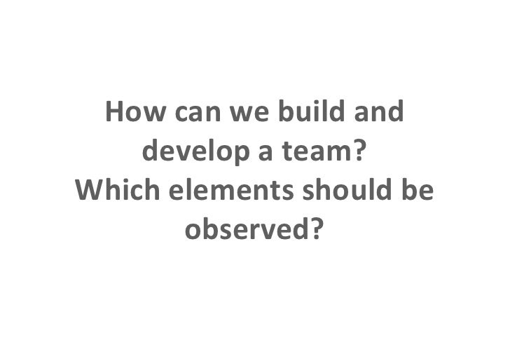 How can we build and                    develop a team?                Which elements should be                       obse...