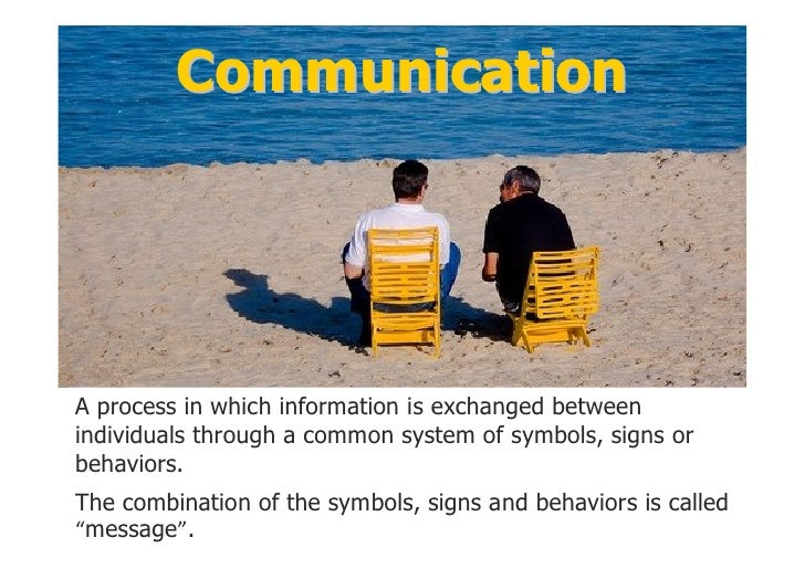 Communication       A process in which information is exchanged between   individuals through a common system of symbols, ...