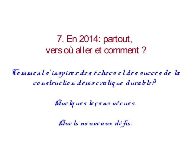 Vers quelle TRANSITION devons, voulons, pouvons-nous aller en 2014 ?