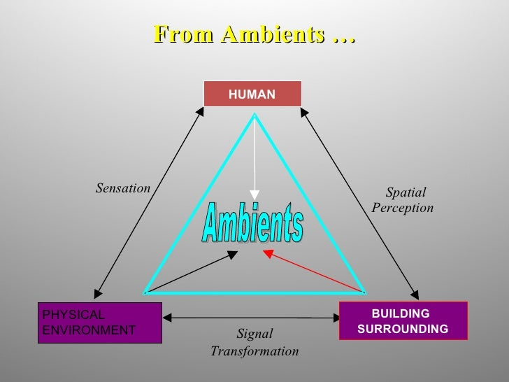 From Ambients … Ambients Sensation Spatial Perception Signal Transformation HUMAN PHYSICAL ENVIRONMENT BUILDING SURROUNDING