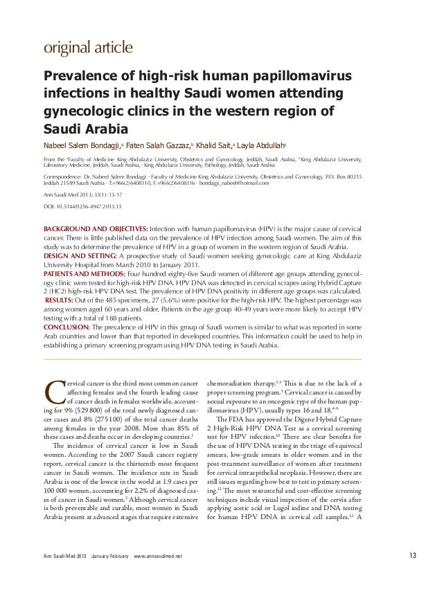 original  article Ann Saudi Med 2013 January-February www.annsaudimed.net 13 C ervical cancer is the third most common c...