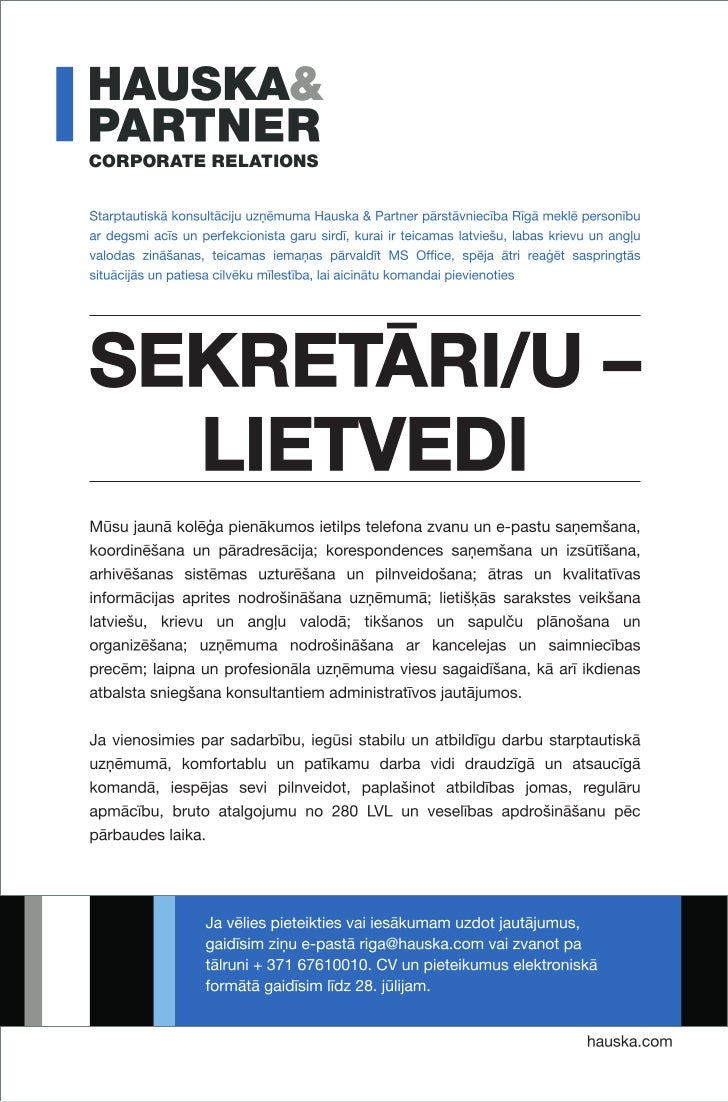 Vakance | Sekretārs @ Hauska & Partner