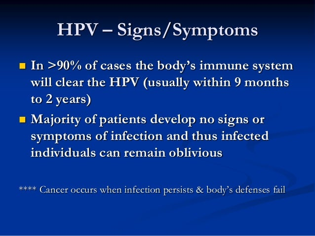 Information for the Patient on Human Papilloma Virus (HPV) and Head a ...