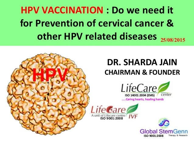 HPV VACCINATION : Do we need it for Prevention of cervical cancer & other HPV related diseases HPV DR. SHARDA JAIN CHAIRMA...