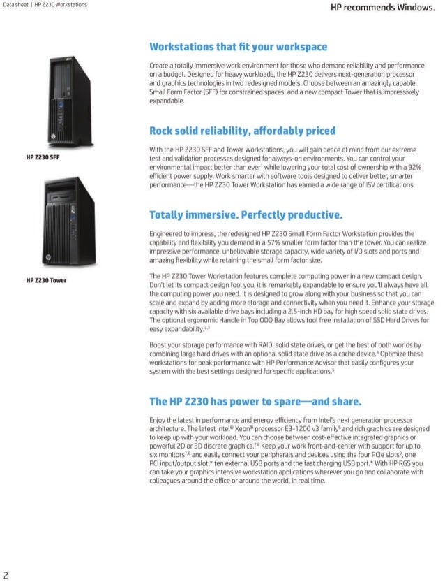 Data Sheet - HP Z230 Tower and SFF Workstations