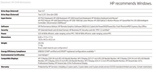 Hp Z440 Specifications