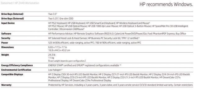 Data Sheet - HP Z440 Workstation