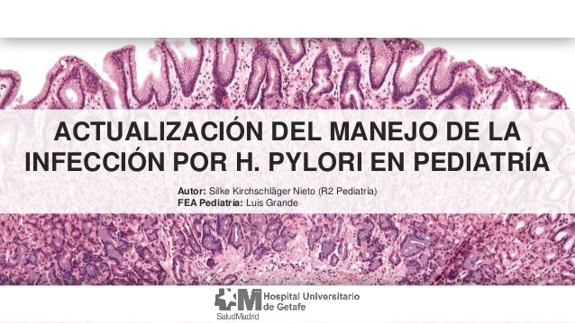 ACTUALIZACIÓN DEL MANEJO DE LA INFECCIÓN POR H. PYLORI EN PEDIATRÍA Autor: Silke Kirchschläger Nieto (R2 Pediatría) FEA Pe...