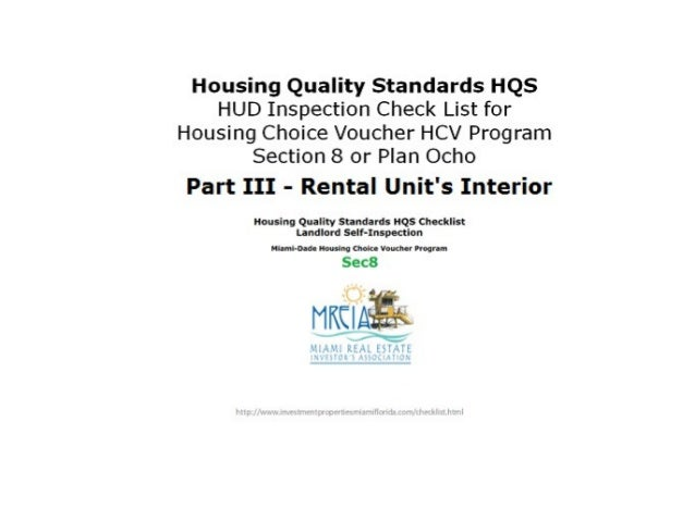 Part III UNIT Interior  • Housing Quality Standards Checklist for  Section 8 Housing Choice Voucher Program's  Rental Prop...