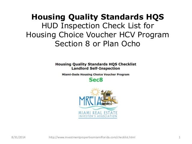 Housing Quality Standards HQS  HUD Inspection Check List for  Housing Choice Voucher HCV Program  Section 8 or Plan Ocho  ...