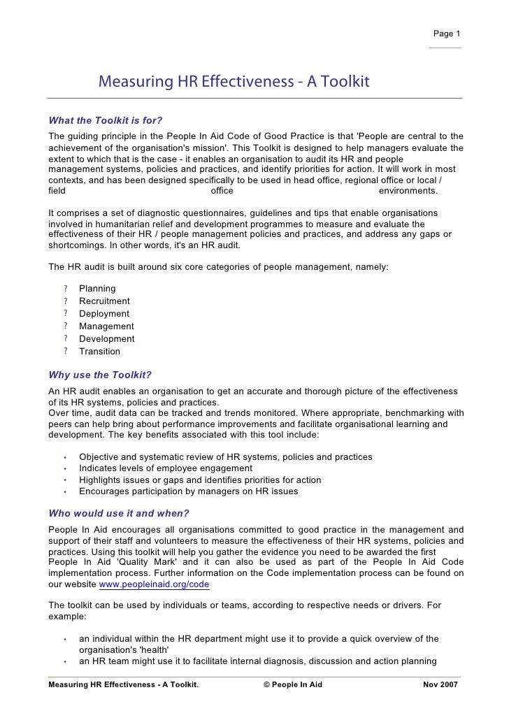 Page 1                 Measuring HR Effectiveness - A Toolkit  What the Toolkit is for? The guiding principle in the Peopl...