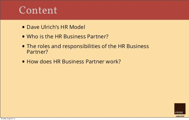 HR Business Partner: Roles and Responsibilities Slide 3