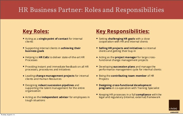 HR Business Partner Roles and Responsibilities – Human Resources Manager Duties