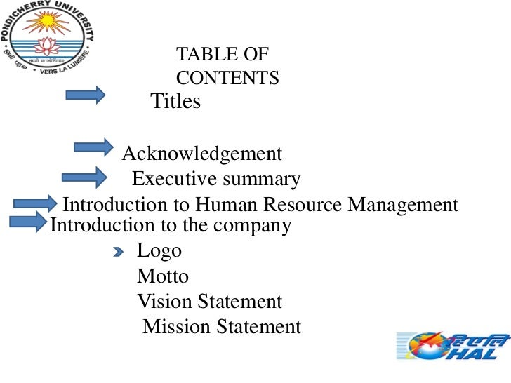 .             TABLE OF             CONTENTS          Titles         Acknowledgement          Executive summary  Introducti...