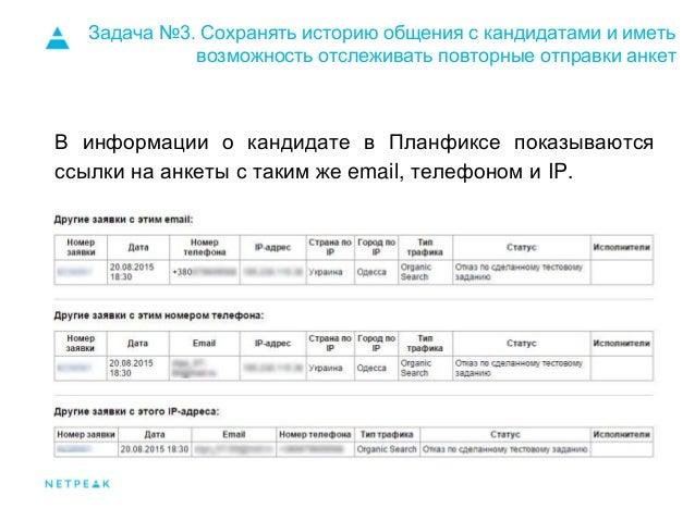 Задача №3. Сохранять историю общения с кандидатами и иметь возможность отслеживать повторные отправки анкет В информации о...
