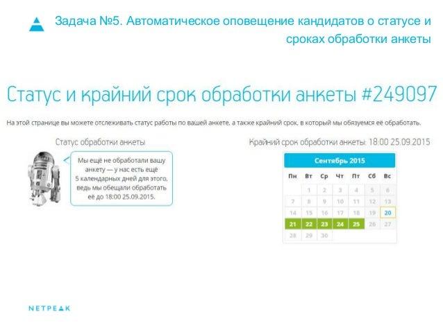 Задача №5. Автоматическое оповещение кандидатов о статусе и сроках обработки анкеты