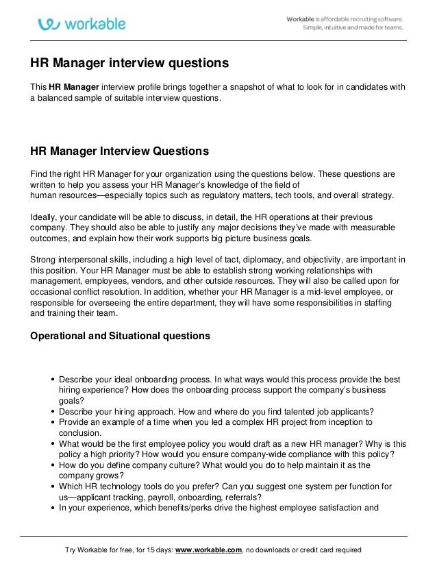 interview questions for hr manager