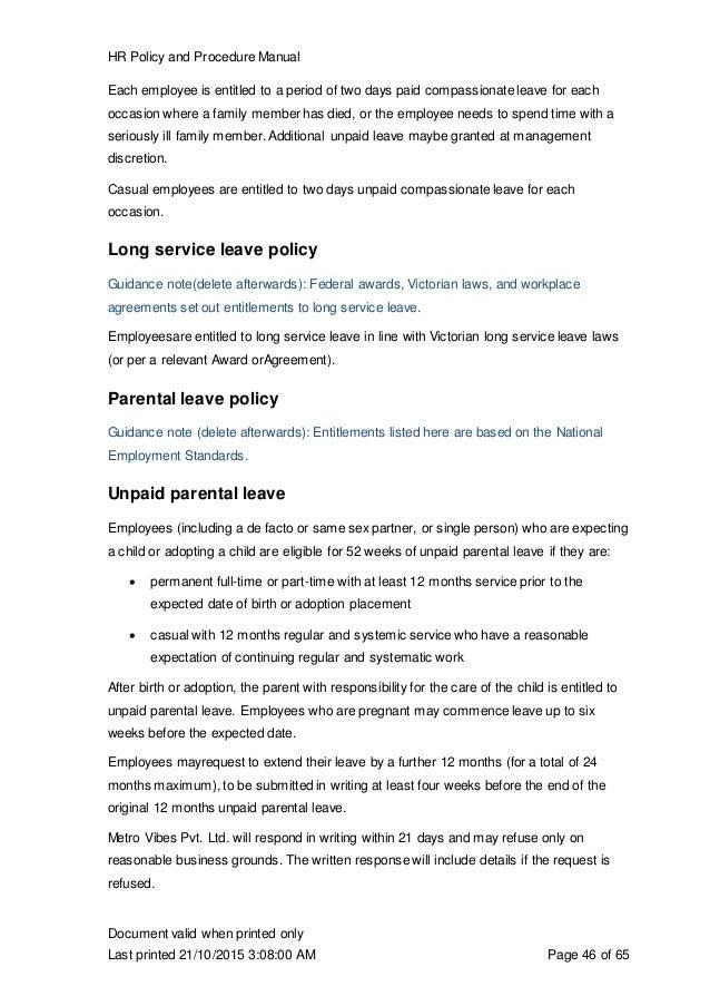 procedure manual example