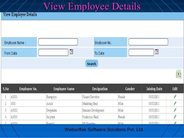 View Employee Details    Websoftex Software Solutions Pvt. Ltd.